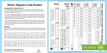 KS2 Winter Olympics Codebreaker Differentiated Worksheet / Activity Sheets - pyeongchang, maths challenge, multiplication, division, place value, x10, x100,