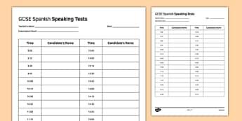 GCSE Spanish Speaking Test Timetable Template - GCSE, Speaking Exam, Test, Timetable, Template, Schedule, Admin