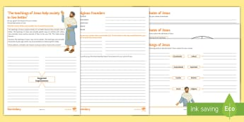 The Teachings of Jesus Activity Sheets  - Secondary - RE - Religious Founders, leader, charismatic, sinner, religious, God, followers, teachin