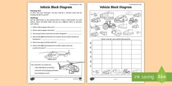Vehicle Block Diagram Activity Sheet - amazing fact august, KS1, Amazing Fact, maths, data, statistics, transport, worksheet