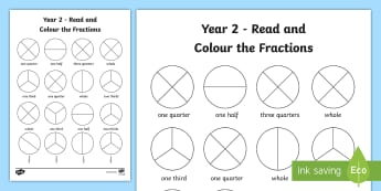 Fractions Worksheets Ks Year  Read And Colour A Fraction Worksheet