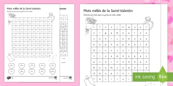 Valentine's Day Lower Ability Differentiated Word Search - Valentine's Day, French, 14th February, Saint Valentin, mots mêlés, soupe de mots, word search,Fr