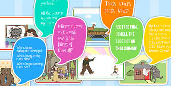 Traditional Tales Cut-out Display Speech Bubbles - trad tales display