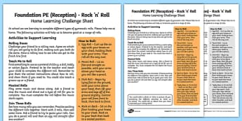 Foundation PE (Reception) - Rock 'n' Roll Home Learning Challenge Sheet - EYFS, PE, Physical Development, Planning