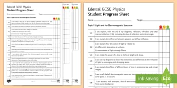 Edexcel Style GCSE Physics, Light and the Electromagnetic Spectrum Progress Sheet - total internal reflection, ray diagrams, lenses, electromagnetic spectrum, gamma rays