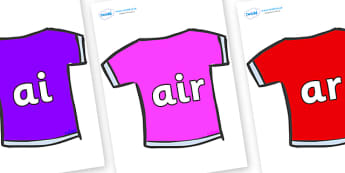 Phase 3 Phonemes on T-Shirts - Phonemes, phoneme, Phase 3, Phase three, Foundation, Literacy, Letters and Sounds, DfES, display