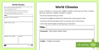 World Climates Narrative Writing Template - Australian Curriculum, Geography, language, Vocabulary, research, lesson, spelling, literacy,Austral