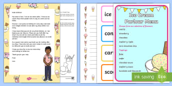 Editable Ice Cream Shop Letter and Resource Pack - Summer, seaside, holidays, ice lollies, roleplay, home corner, EYFS
