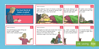 The Dual World of Anders Arnfield Addition and Subtraction Maths Challenge Cards - maths, challenge, problem solving, story, math, number