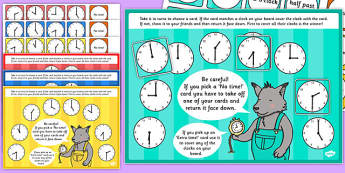 O'Clock and Half Past Time Bingo and Lotto Game - ESL Time Games