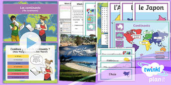 French: Where in the World?: Continents Year 4 Lesson Pack 4
