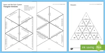 Space and the Solar System Tarsia Triangular Dominoes - Tarsia, gcse, physics, space, solar system, universe, big bang, planets, asteroid, comet, telescopes, plenary activity