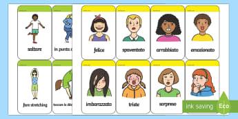Vocaboli delle Azioni e i Sentimenti Flashcards - azioni, e, sentimenti, emozioni, flashcards, italiano, italian, materiale, scolastico