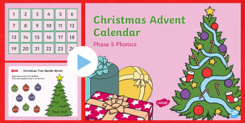 Phase 5 Christmas Phonics Advent Calendar PowerPoint - December, Reading, Game, Phonics Activity, Sounds