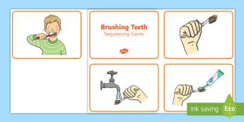 Sequencing Cards Brushing Teeth Boy - sequencing cards, sequence, cards, brushing teeth, teeth, brush, boy