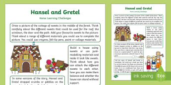 Hansel and Gretel Home Learning Challenges Nursery FS1 - EYFS, fairy tale, traditional tale, Brothers Grimm, homework, home links, parent links, carers