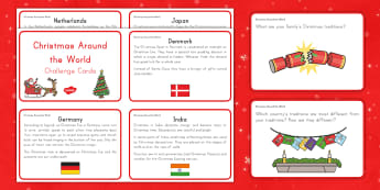 Christmas Around the World Information and Question Cards - Common Core, Compare and contrast, eLA, Kindergarten, Christmas, Winter, Nonfiction