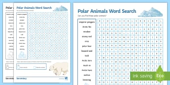 Polar Animals Word Search  - Polar, Arctic, Antarctic, Adaptation, wordsearch