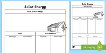 Solar Energy Research Activity Sheet - Sun power, sustainable energy, electricity, solar panels, ACSSU097,Australia
