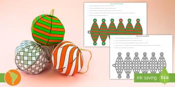 Modelo de papel: Adornos de Navidad 3D  - decoración de navidad, adorno de navidad, bambalina, adorno del árbol, modelo de papel, español,