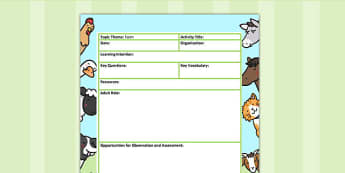 Farm Themed Adult Led Focus Planning Template - farm, plans