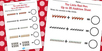 The Little Red Hen Up to 20 Addition Sheet - Little, Red, Hen