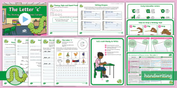 The Journey to Continuous Cursive: The Letter 'c' (Curly Caterpillar Family Help Card 1) KS1 Activity Pack - Nelson handwriting, penpals, fluent, joined, legible, handwriting