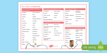 AQA Physics 6.2 Electricity Word Mat - Word Mat, AQA, GCSE, Physics, Static, Electricity, Energy, Transfers, Series, Parallel, circuit, Cur
