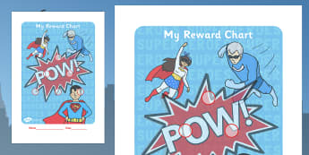 Super Heroes Themed Sticker Reward Chart 15mm - reward chart, sticker chart, sticker reward chart, super heroes reward chart, super heroes, superheroes