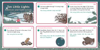 Ten Little Lights Addition and Subtraction Differentiated Maths Challenge Cards - Twinkl Originals, Fiction, Christmas, Winter, Snow, Cold, Total, solve, problem, find, equals
