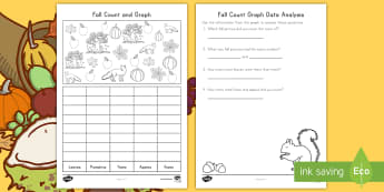 Fall Count and Graph Activity Sheet - Fall, Count and Graph, Seasons, Autumn, graphing