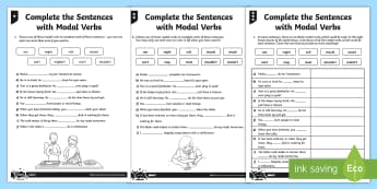 Complete the Sentences with Modal Verbs Differentiated Activity Sheet Pack - GPS, Modal, Auxiliary, worksheet
