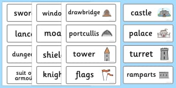 Medieval Castle Role Play Word Cards - Medieval castle, castle, castles and knights, word card, flashcards, writing aid, history, role play, turret, moat, drawbridge, maiden, knight