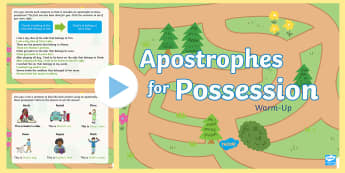 Year 2 Apostrophes for Possession Warm-Up PowerPoint - Spag, revision, morning starter, possessive, singular