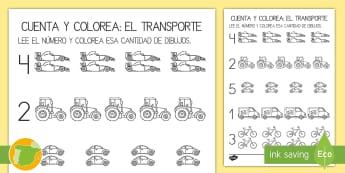 Ficha de actividad: Cuenta y colorea - El transporte - contar, cuenta, contando, mates, matemáticas, números, sumar, sumas, colorea, colorear, colores, p