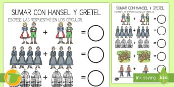 Ficha de actividad: Sumar - Hansel y Gretel - adición, contar, sumar, Hansel, Gretel, cuento, cuentos, infantil, mates, matemáticas, ficha, ,Spa