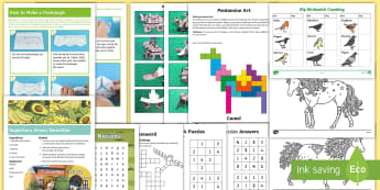 KS2 February Half-Term Activity Pack - holiday, break, home, feb, paper models, nature, family, parents