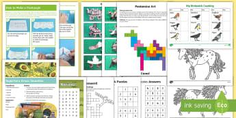KS2 February Half-Term Activity Pack - holiday, break, home, feb, paper models, nature, family, parents