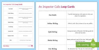 An Inspector Calls Character Loop Cards - an inspector calls, characters in an inspector calls, birling, matching cards, character matching ca