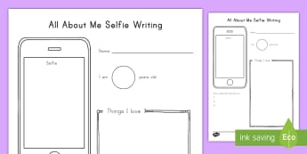 All About Me Selfie Writing Activity Sheet - selfie, introductions, getting to know you, writing template, beginning of the year, worksheet