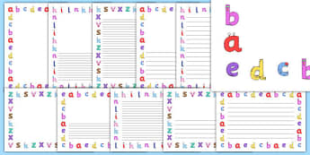 Lower-Case Monster Alphabet Page Borders - letters, writing frames