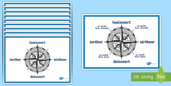 A4 Compass Directions Display Poster - compás, direcciones, norte, sur, este, oeste, geografía, orientación, Irish,