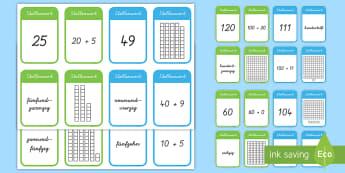 Stellenwert Kartenspiel - Mathe, Zahlen, zählen, Ziffern, Nummern, Einser, Zehner, Hunderter, Spiel, German