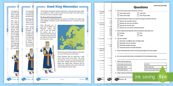 KS2 Good King Wenceslas Differentiated Reading Comprehension Activity - retrieve and record information from text, christmas, summarise ideas, answer questions, SATs style