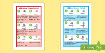 Addition and Subtraction Column Method 3 Digit Numbers IKEA Tolsby Frame - poster, subtraction, column method, 3 digit, numbers, poster, display,