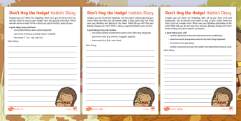 Don't Hog the Hedge! Diary Writing Differentiated Activity Sheets - Twinkl Originals, Fiction, Autumn, Hibernate, Woodland, Animals, recount, diary entry, retell, time