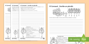 Carnival Differentiated Structured Writing Worksheet / Activity Sheet Spanish - Celebrations, conditional, party, Creative, KS3, Spanish