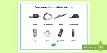 Componentele circuitului electric Planșă cu vocabular - circuit electric, electricitate, română, planșe, materiale, electric, activități, științe, fi