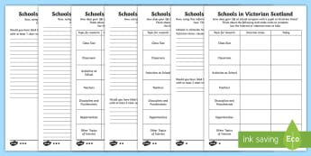 Schools in Victorian Scotland Comparison Differentiated Worksheet / Activity Sheets - Victorians, schools, education, comparison, then and now, people in the past, people in past societi