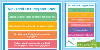 Poster Trwydded Defnyddio Pensil  - Trwydded, Defnyddio, Pensil, Poster, Arddangos, Pensil, Licence, Display, Poster,Welsh